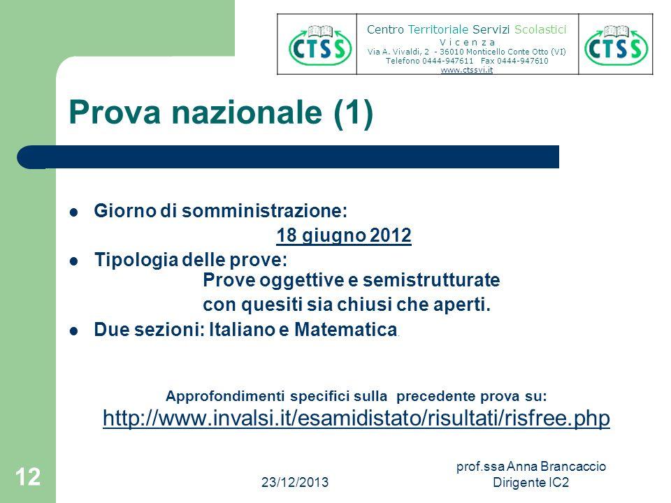Prova nazionale (1) Giorno di somministrazione: 18 giugno 2012