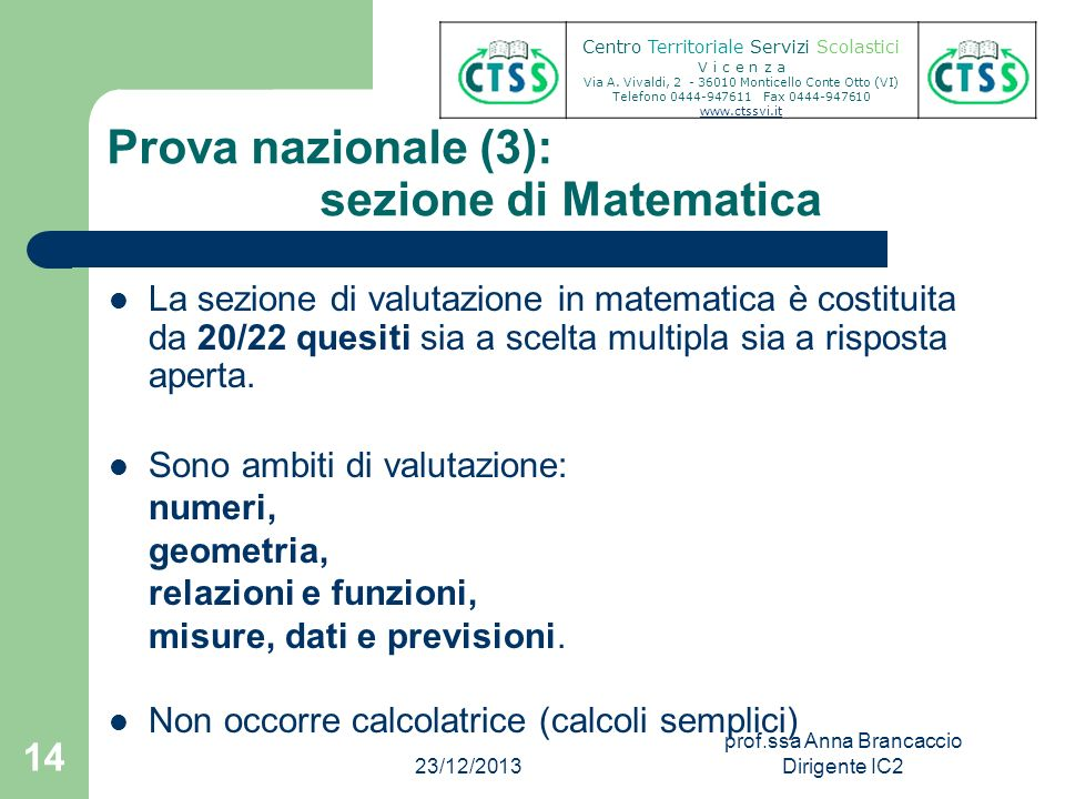 Prova nazionale (3): sezione di Matematica