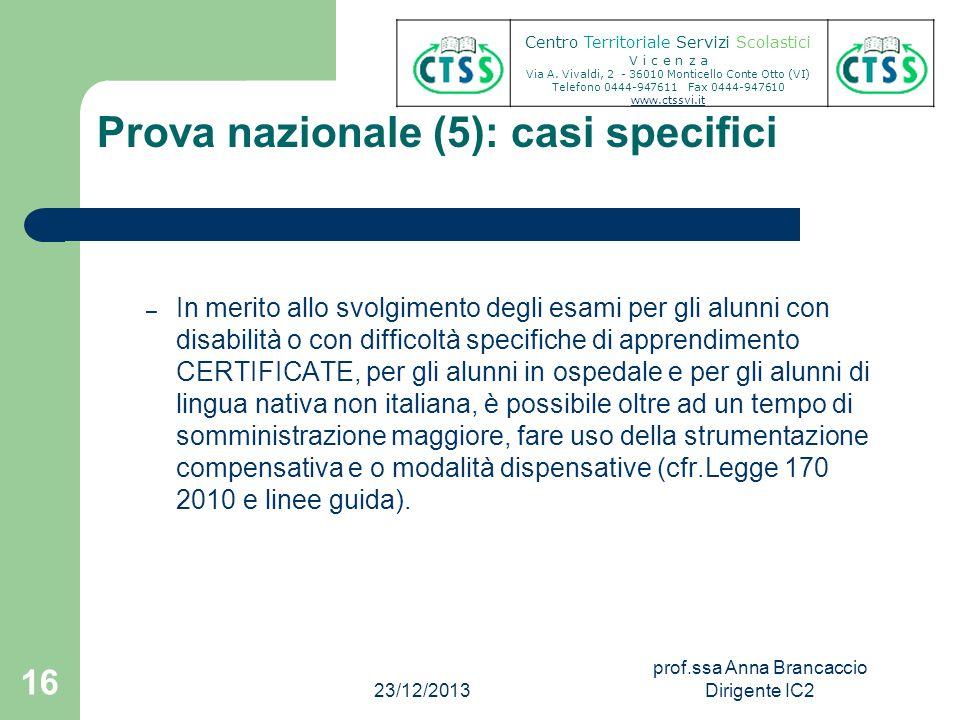 Prova nazionale (5): casi specifici