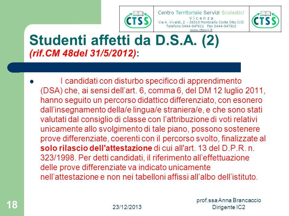 Studenti affetti da D.S.A. (2) (rif.CM 48del 31/5/2012):