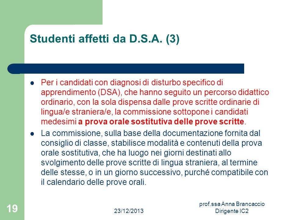 Studenti affetti da D.S.A. (3)