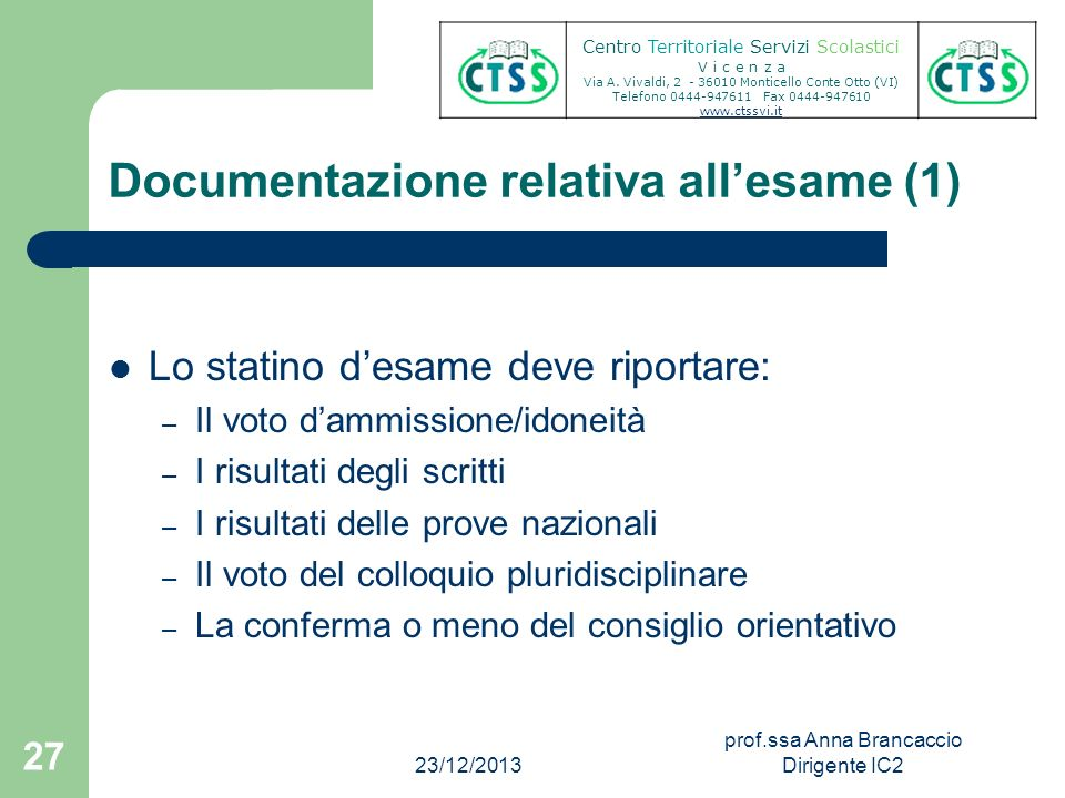 Documentazione relativa all'esame (1)