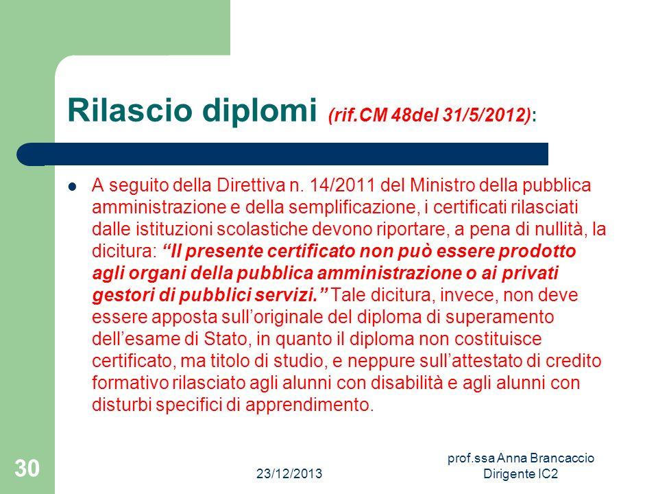 Rilascio diplomi (rif.CM 48del 31/5/2012):