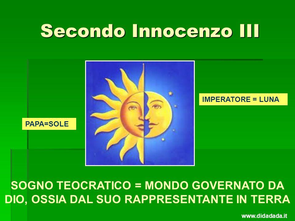 Secondo Innocenzo III IMPERATORE = LUNA. PAPA=SOLE. SOGNO TEOCRATICO = MONDO GOVERNATO DA DIO, OSSIA DAL SUO RAPPRESENTANTE IN TERRA.