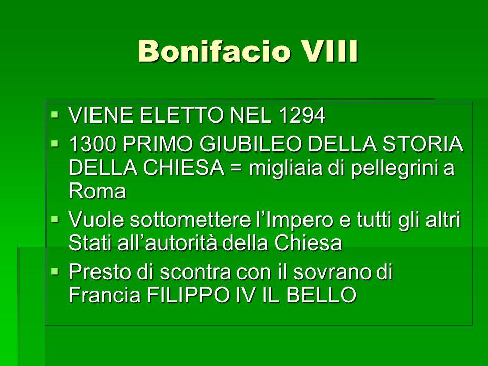 Bonifacio VIII VIENE ELETTO NEL 1294