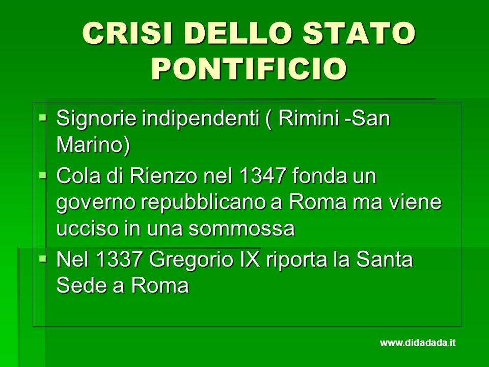 CRISI DELLO STATO PONTIFICIO