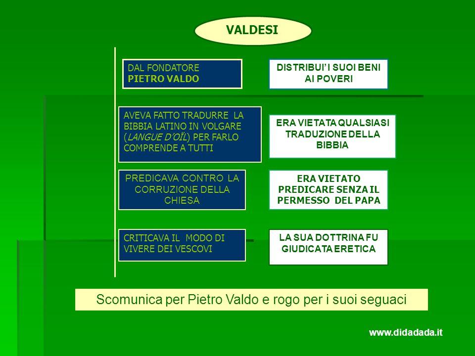 Scomunica per Pietro Valdo e rogo per i suoi seguaci
