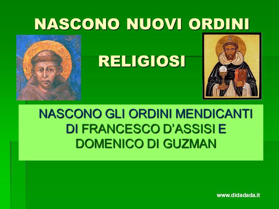 NASCONO NUOVI ORDINI RELIGIOSI