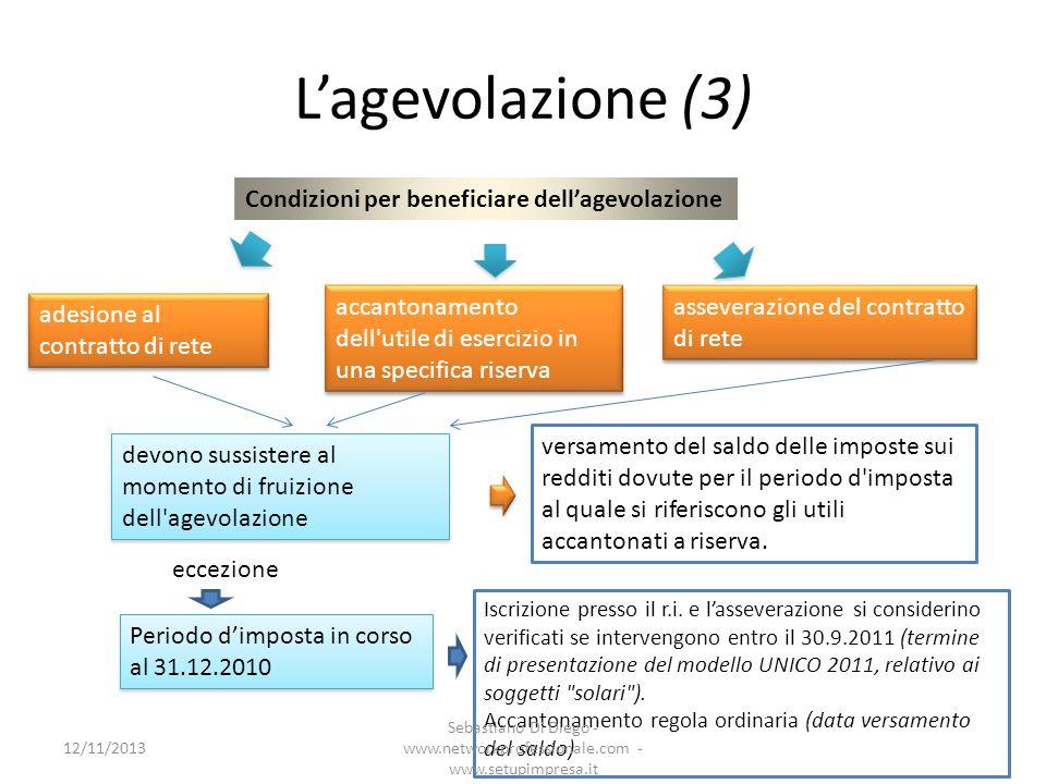 L'agevolazione (3) Condizioni per beneficiare dell'agevolazione