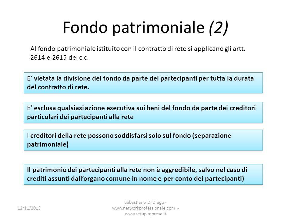 Fondo patrimoniale (2) Al fondo patrimoniale istituito con il contratto di rete si applicano gli artt. 2614 e 2615 del c.c.