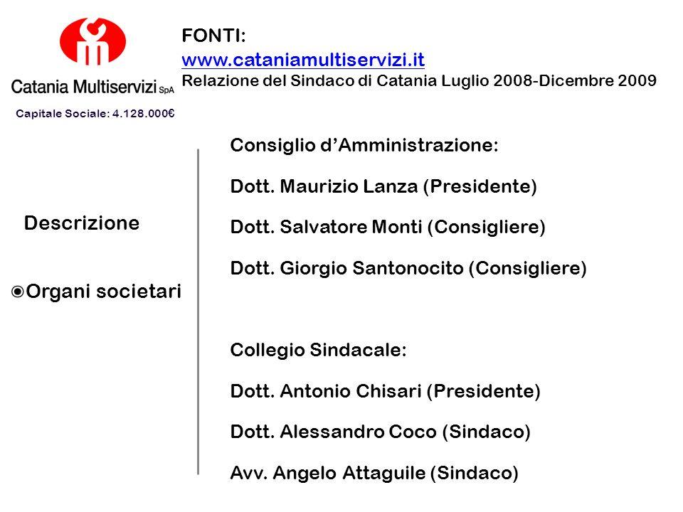 Descrizione Organi societari FONTI: www.cataniamultiservizi.it