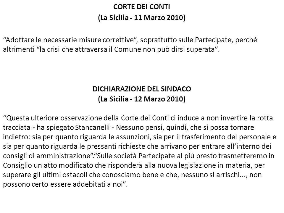 DICHIARAZIONE DEL SINDACO