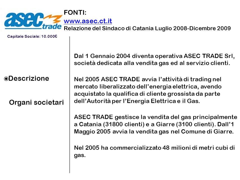 Descrizione Organi societari FONTI: www.asec.ct.it