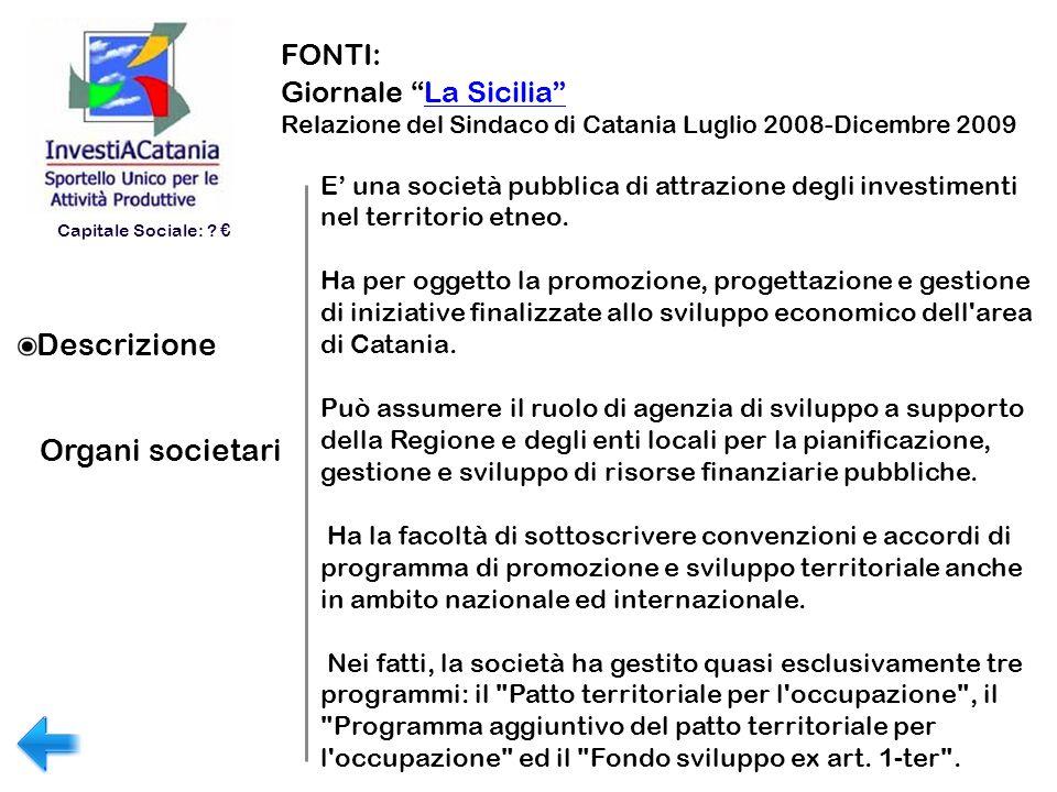 Descrizione Organi societari FONTI: Giornale La Sicilia