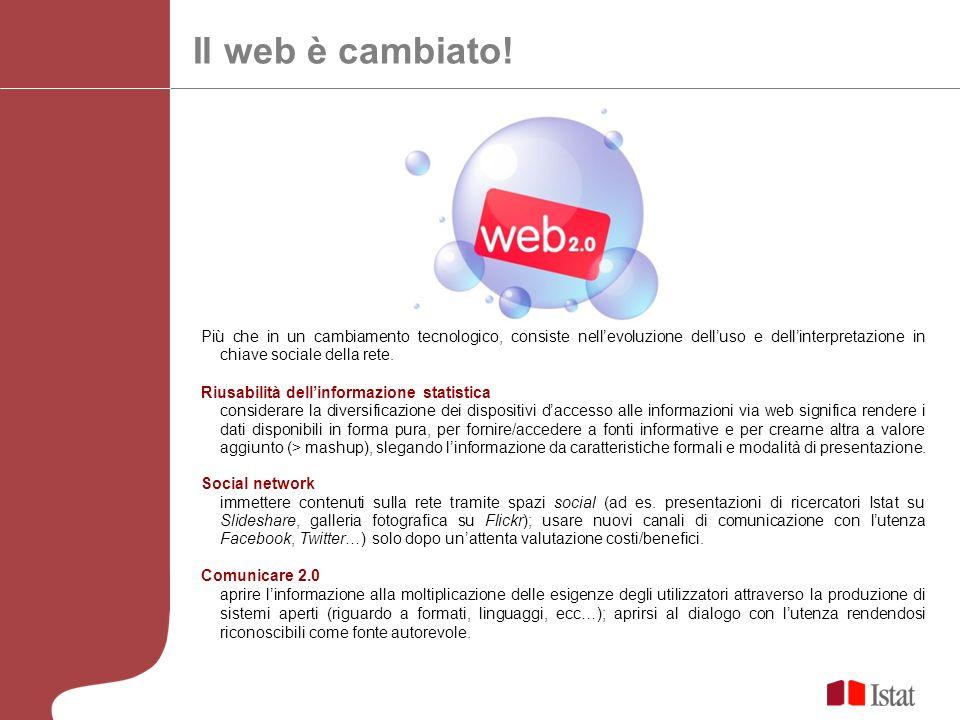 Il web è cambiato! Più che in un cambiamento tecnologico, consiste nell'evoluzione dell'uso e dell'interpretazione in chiave sociale della rete.