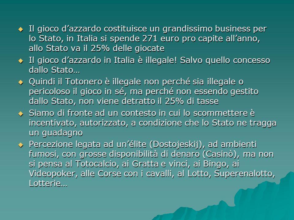 Il gioco d'azzardo costituisce un grandissimo business per lo Stato, in Italia si spende 271 euro pro capite all'anno, allo Stato va il 25% delle giocate