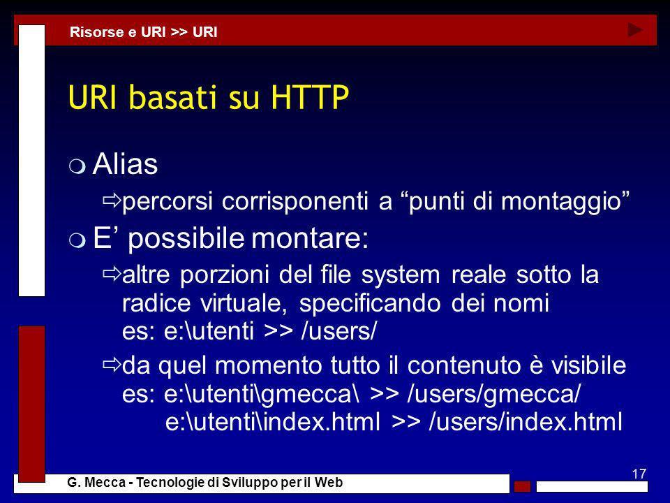 URI basati su HTTP Alias E' possibile montare: