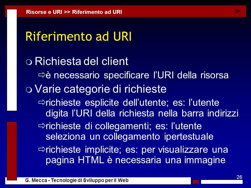 Riferimento ad URI Richiesta del client Varie categorie di richieste