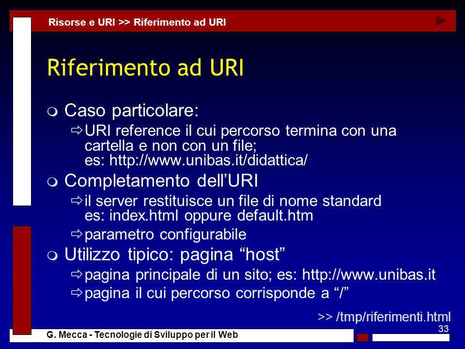Riferimento ad URI Caso particolare: Completamento dell'URI