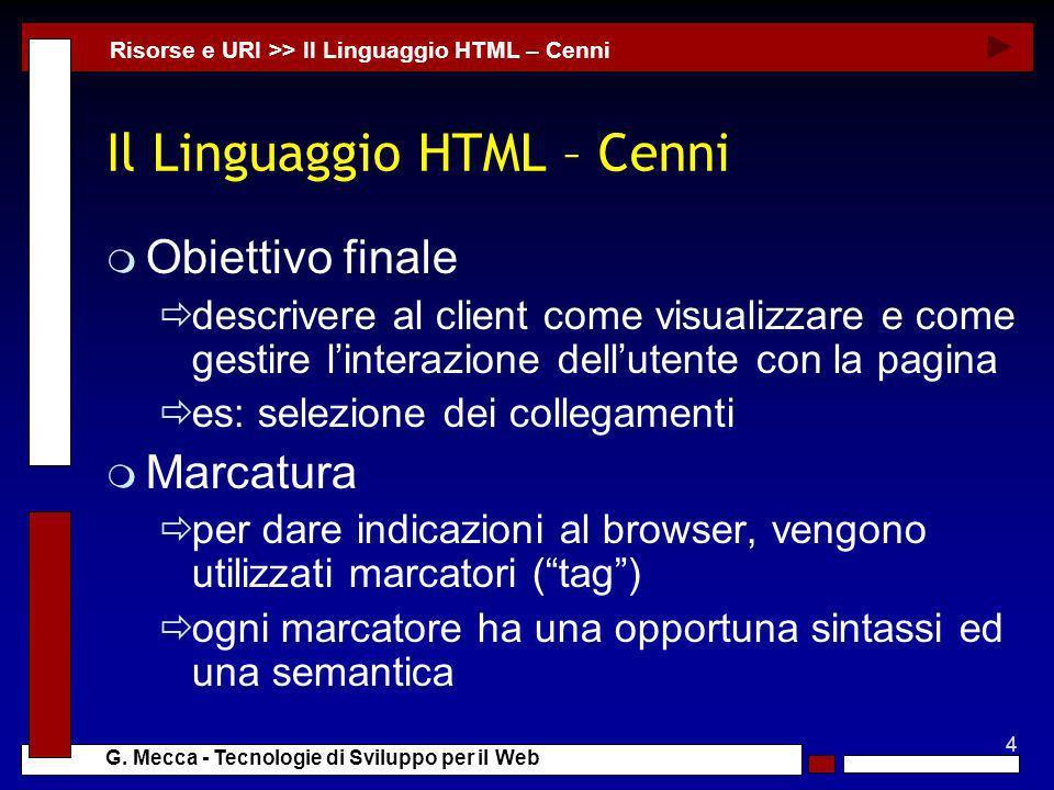 Il Linguaggio HTML – Cenni