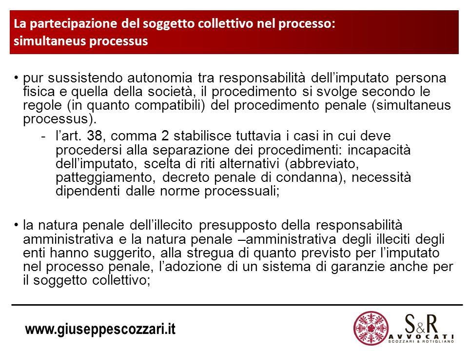 La partecipazione del soggetto collettivo nel processo: simultaneus processus