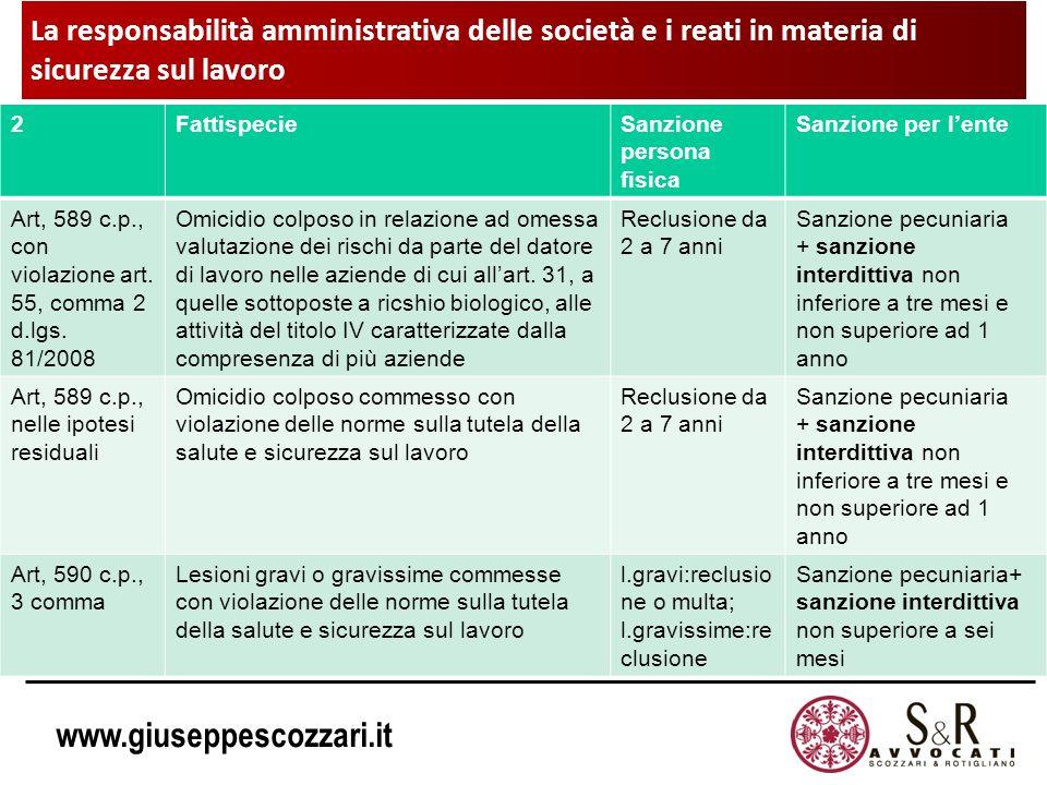 La responsabilità amministrativa delle società e i reati in materia di sicurezza sul lavoro
