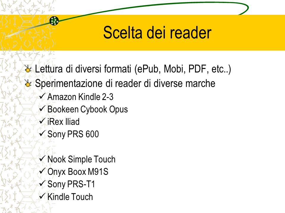 Scelta dei reader Lettura di diversi formati (ePub, Mobi, PDF, etc..)