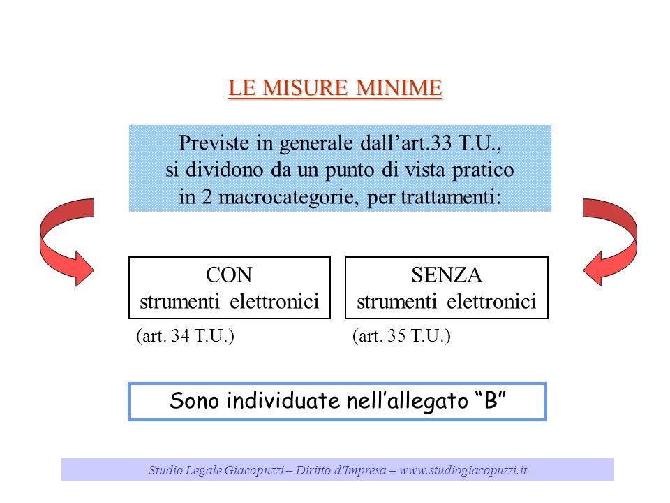 LE MISURE MINIME Previste in generale dall'art.33 T.U.,