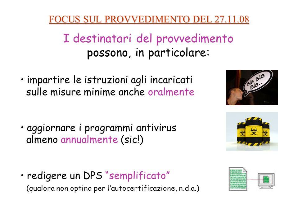 FOCUS SUL PROVVEDIMENTO DEL 27.11.08