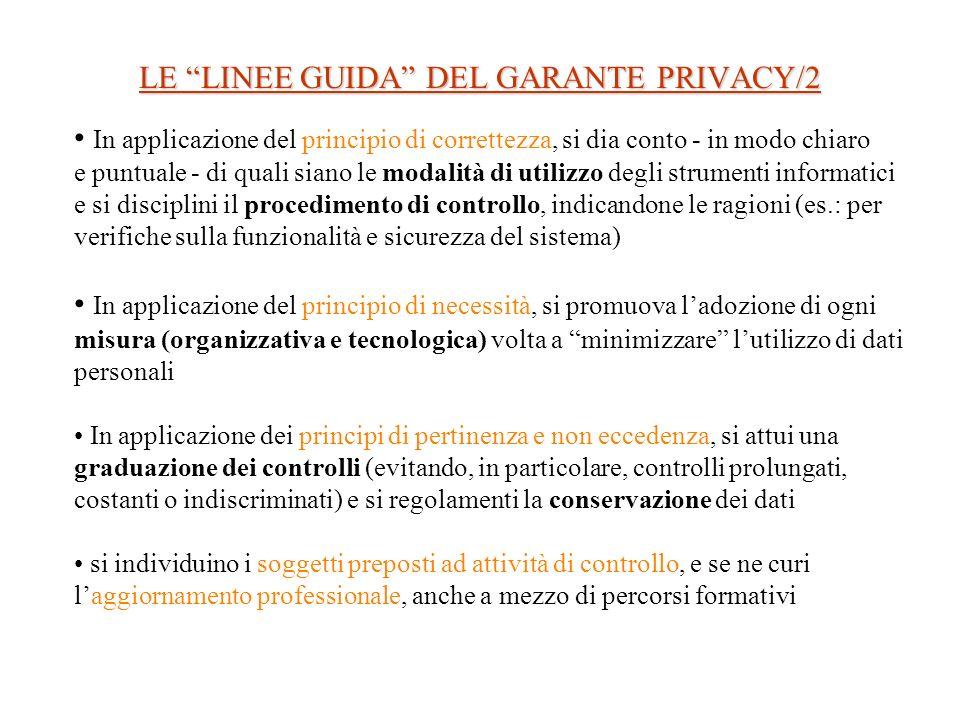 LE LINEE GUIDA DEL GARANTE PRIVACY/2