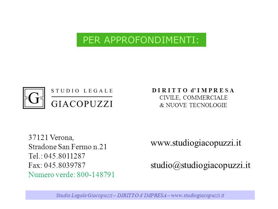 Studio Legale Giacopuzzi – DIRITTO d'IMPRESA – www.studiogiacopuzzi.it