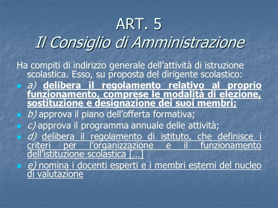 ART. 5 Il Consiglio di Amministrazione