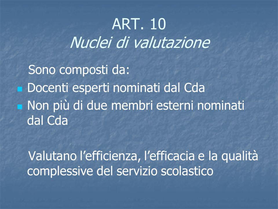 ART. 10 Nuclei di valutazione