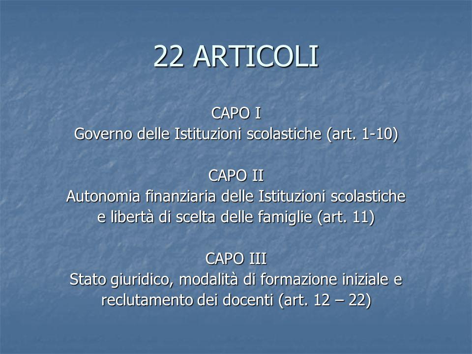 22 ARTICOLI CAPO I Governo delle Istituzioni scolastiche (art. 1-10)