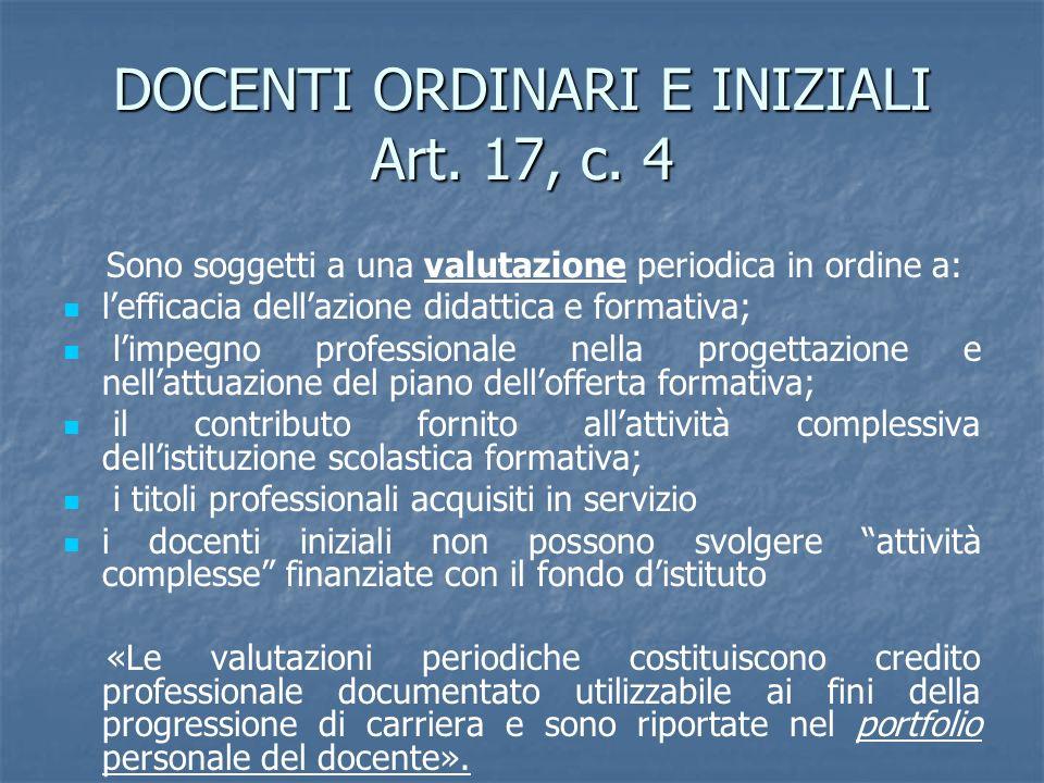 DOCENTI ORDINARI E INIZIALI Art. 17, c. 4