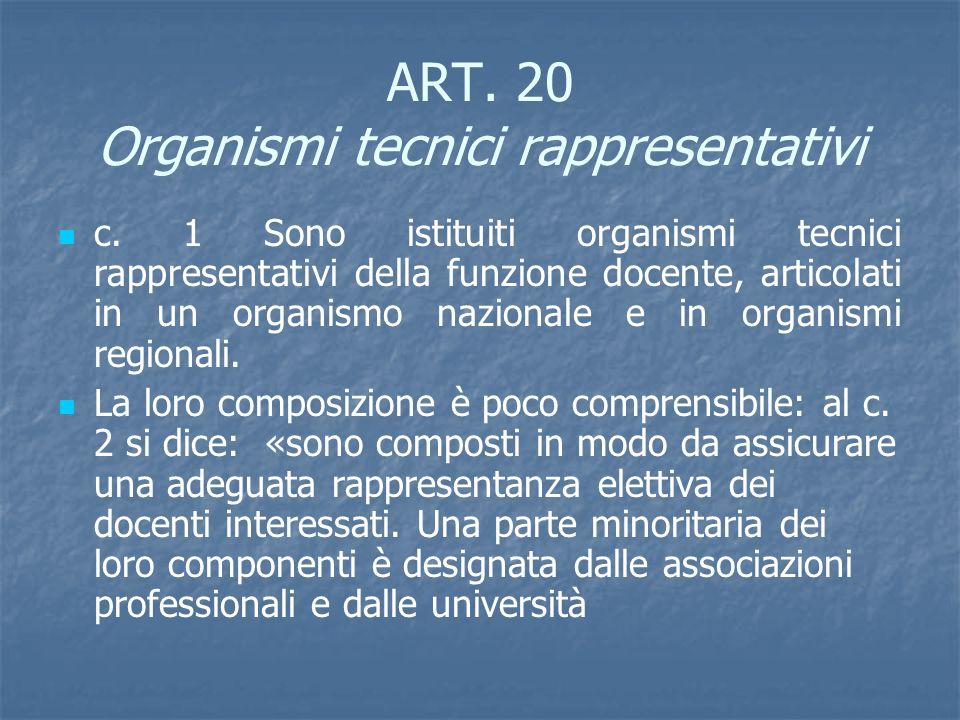 ART. 20 Organismi tecnici rappresentativi