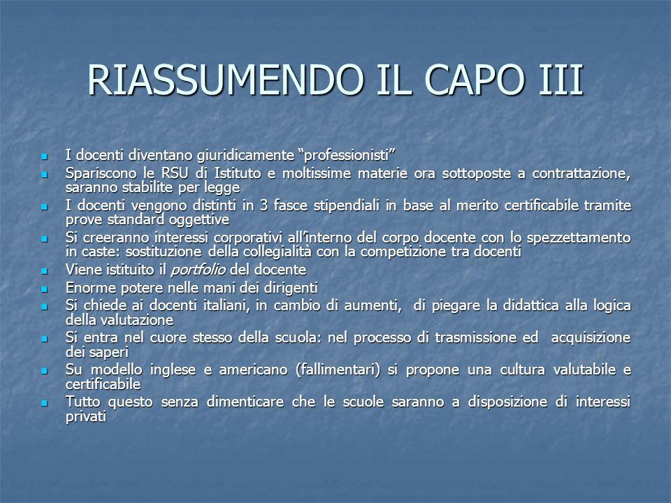 RIASSUMENDO IL CAPO III