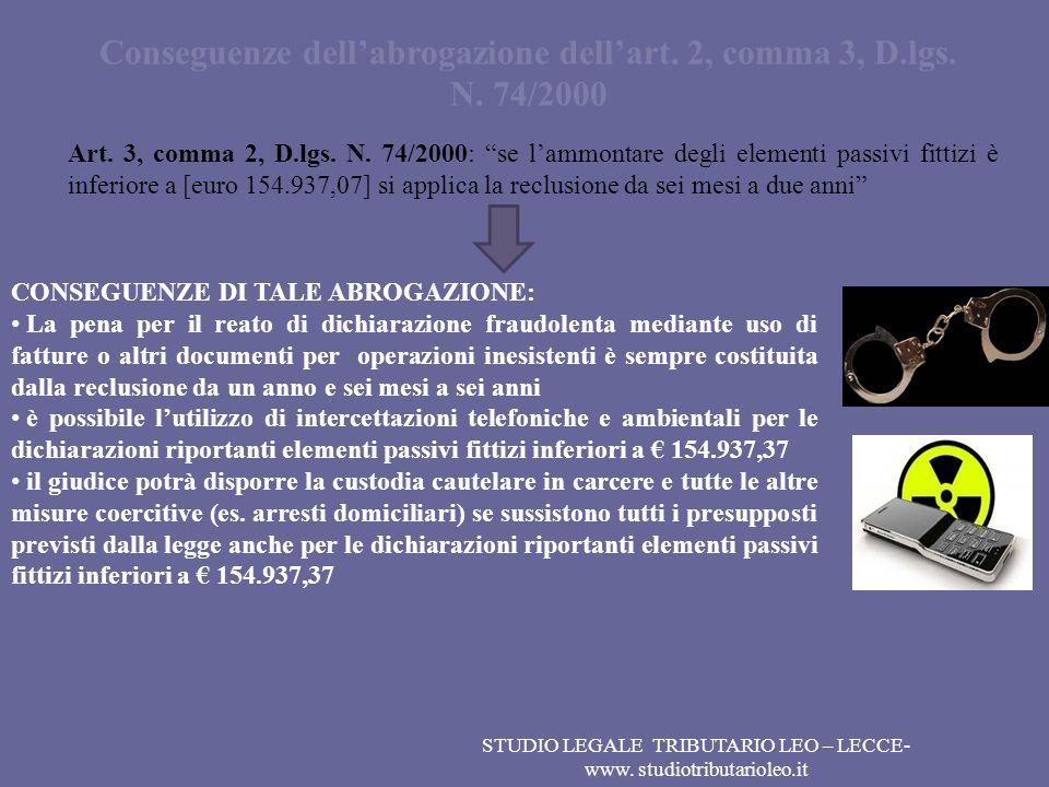 Conseguenze dell'abrogazione dell'art. 2, comma 3, D.lgs. N. 74/2000