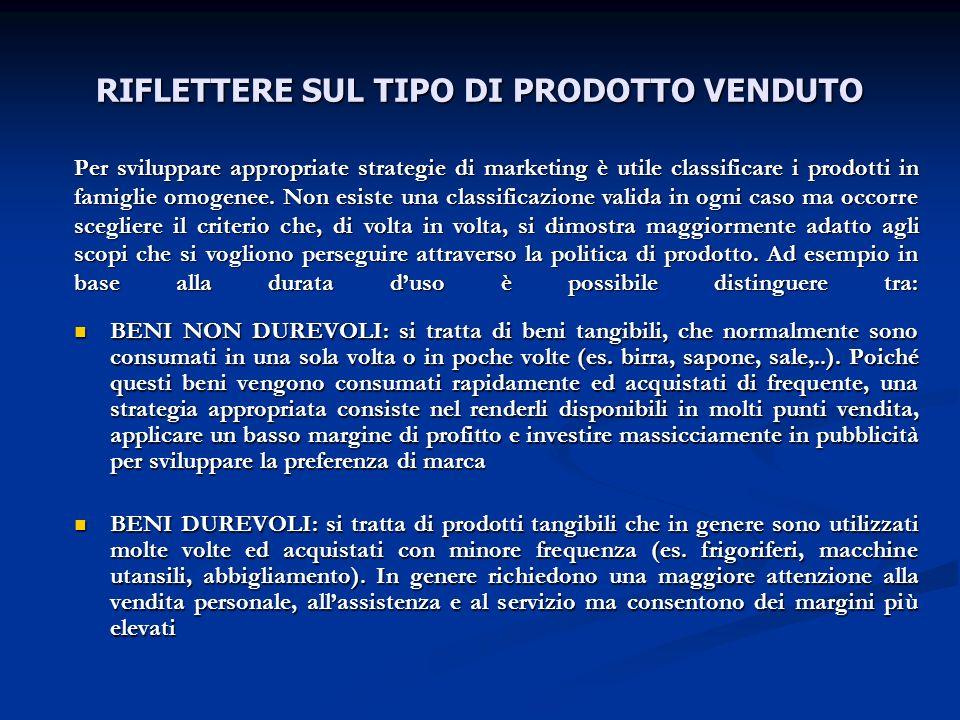 RIFLETTERE SUL TIPO DI PRODOTTO VENDUTO
