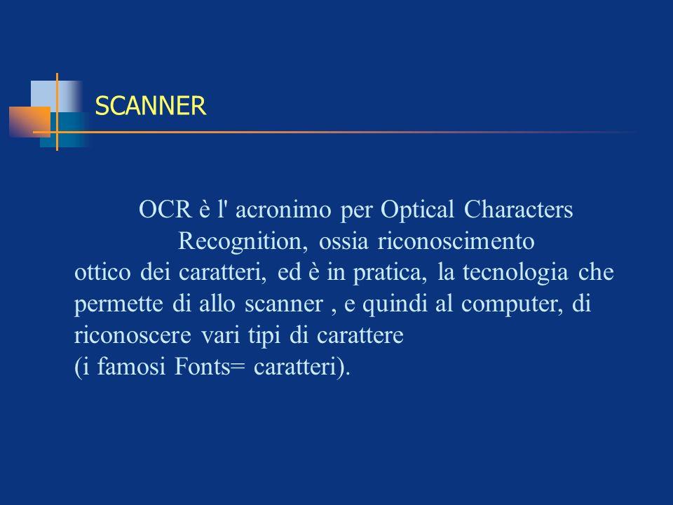 SCANNER OCR è l acronimo per Optical Characters Recognition, ossia riconoscimento.