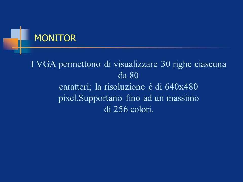 I VGA permettono di visualizzare 30 righe ciascuna da 80