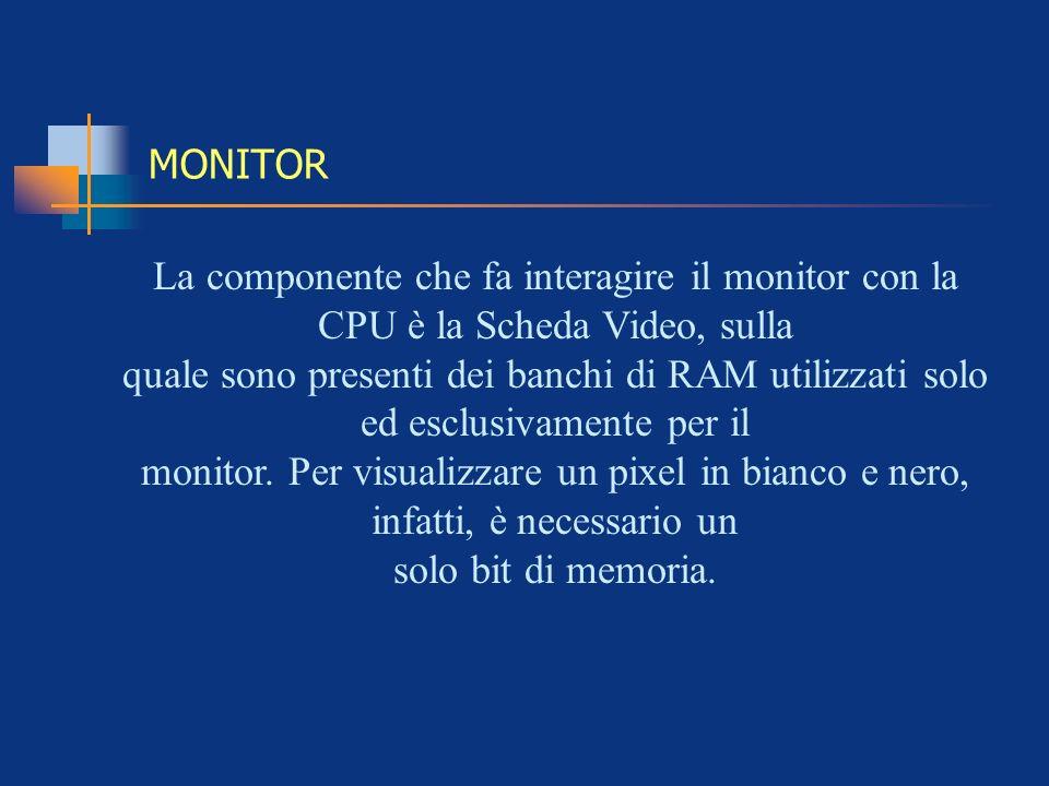 MONITOR La componente che fa interagire il monitor con la CPU è la Scheda Video, sulla.