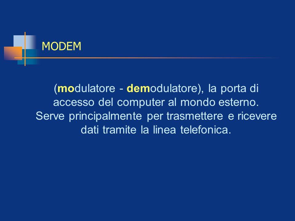 MODEM(modulatore - demodulatore), la porta di accesso del computer al mondo esterno.