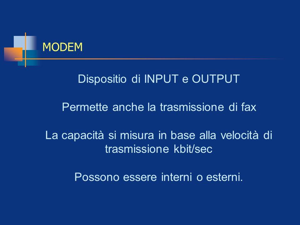Dispositio di INPUT e OUTPUT Permette anche la trasmissione di fax
