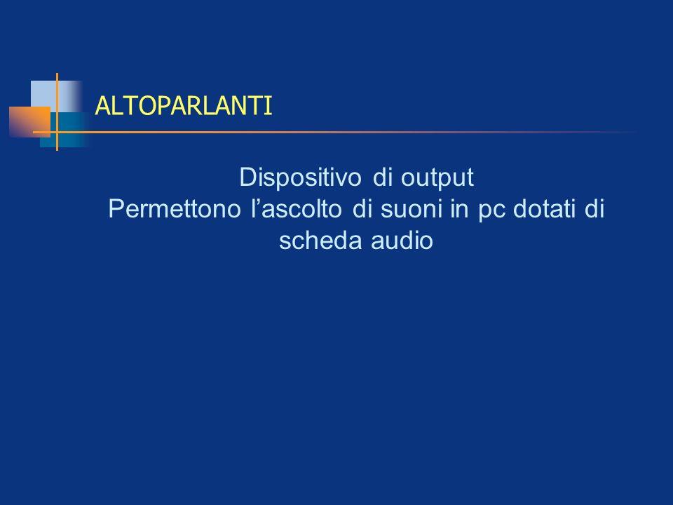 Permettono l'ascolto di suoni in pc dotati di scheda audio