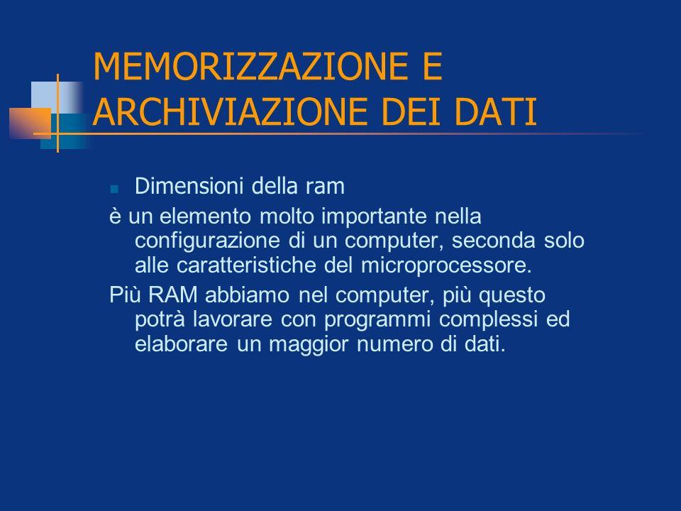 MEMORIZZAZIONE E ARCHIVIAZIONE DEI DATI