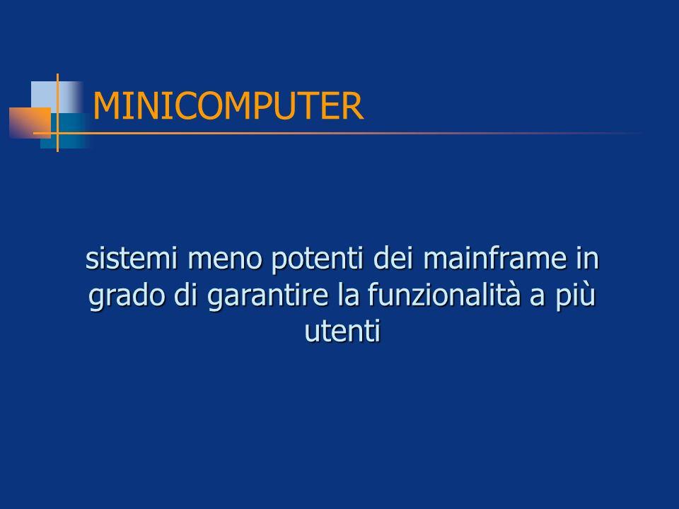 MINICOMPUTER sistemi meno potenti dei mainframe in grado di garantire la funzionalità a più utenti