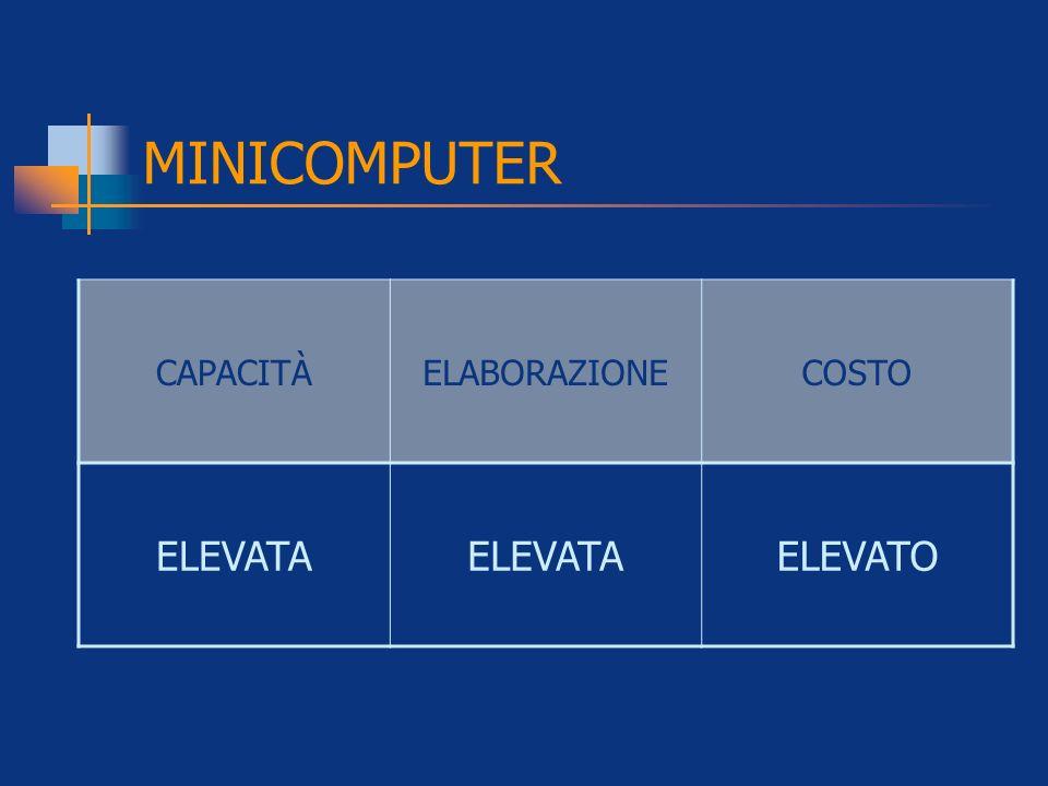 MINICOMPUTER CAPACITÀ ELABORAZIONE COSTO ELEVATA ELEVATO