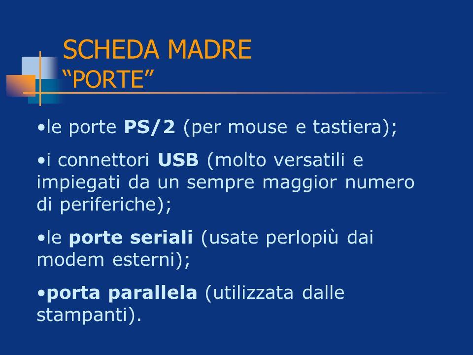 SCHEDA MADRE PORTE le porte PS/2 (per mouse e tastiera);