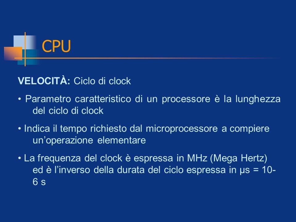 CPU VELOCITÀ: Ciclo di clock